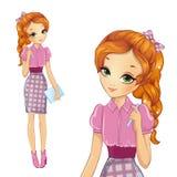Muchacha en vestido rosado del estilo libre illustration