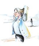 Muchacha en viento libre illustration