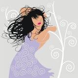 Muchacha en violeta Foto de archivo libre de regalías