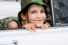Muchacha encantadora de la sonrisa con el sombrero Fotografía de archivo