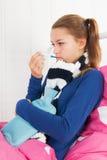 Muchacha enferma del adolescente Foto de archivo