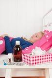 Muchacha enferma del adolescente Fotografía de archivo