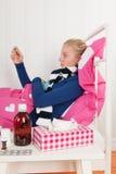 Muchacha enferma del adolescente con temperatura Fotos de archivo
