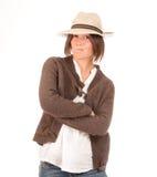 Muchacha enojada con el sombrero Fotografía de archivo