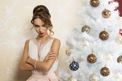 Muchacha enojada de la Navidad Fotografía de archivo