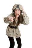 Muchacha enojada del ejército Imágenes de archivo libres de regalías