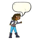 muchacha enojada del motorista de la historieta con la burbuja del discurso Imagenes de archivo
