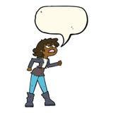 muchacha enojada del motorista de la historieta con la burbuja del discurso Fotografía de archivo libre de regalías