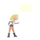 muchacha enojada del motorista de la historieta con la burbuja del discurso Foto de archivo