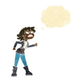 muchacha enojada del motorista de la historieta con la burbuja del pensamiento Foto de archivo libre de regalías