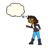muchacha enojada del motorista de la historieta con la burbuja del pensamiento Imagen de archivo libre de regalías