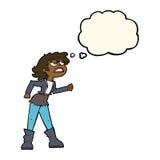 muchacha enojada del motorista de la historieta con la burbuja del pensamiento Fotos de archivo