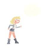 muchacha enojada del motorista de la historieta con la burbuja del pensamiento Imagen de archivo