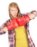 Muchacha enojada en guantes de boxeo Imagen de archivo libre de regalías