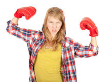 Muchacha enojada en guantes de boxeo Fotos de archivo