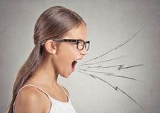 Muchacha enojada que grita Fotos de archivo
