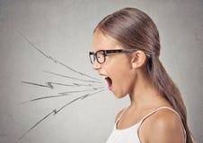 Muchacha enojada que grita Fotografía de archivo libre de regalías