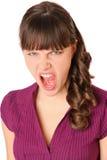 Muchacha enojada y gritos Fotos de archivo libres de regalías