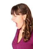 Muchacha enojada y gritos Foto de archivo