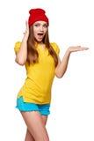 Muchacha enrrollada adolescente sorprendida Foto de archivo