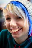 Muchacha enrrollada sonriente del punk rock Imagen de archivo libre de regalías
