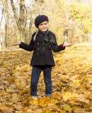 Muchacha entre las hojas de otoño Fotos de archivo