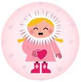 Muchacha esquimal linda que lleva a cabo el corazón stock de ilustración