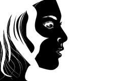 Muchacha estilizada en blanco y negro stock de ilustración