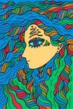 Muchacha fantástica del chamán - garabatee la línea arte gráfica colorida místico ilustración del vector