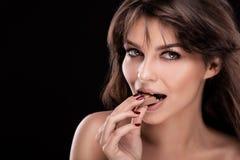 Muchacha feliz con el chocolate Imagen de archivo