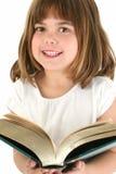 Muchacha feliz con el libro grande fotografía de archivo libre de regalías