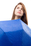 Muchacha feliz con el paraguas Imágenes de archivo libres de regalías
