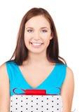 Muchacha feliz con el rectángulo de regalo Foto de archivo libre de regalías