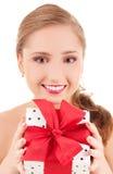 Muchacha feliz con el rectángulo de regalo Fotos de archivo