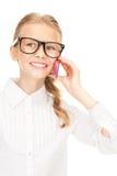 Muchacha feliz con el teléfono celular Fotografía de archivo