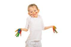 Muchacha feliz con gesticular colorido de las manos Fotografía de archivo