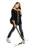 Muchacha feliz con la guitarra eléctrica Imágenes de archivo libres de regalías