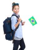 Muchacha feliz con la mochila Imagen de archivo