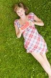 Muchacha feliz con la sandía Imagen de archivo libre de regalías