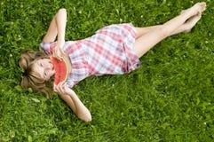 Muchacha feliz con la sandía Fotografía de archivo