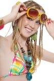 Muchacha feliz con las gafas de sol Fotos de archivo libres de regalías