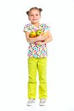 Muchacha feliz con las manzanas Imagen de archivo libre de regalías