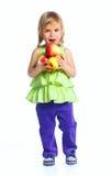 Muchacha feliz con las manzanas Foto de archivo libre de regalías