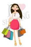 Muchacha feliz con los bolsos de compras Ilustración del vector Fotografía de archivo