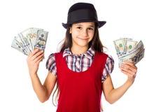 Muchacha feliz con los dólares en manos Imagen de archivo