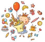Muchacha feliz con los dulces stock de ilustración