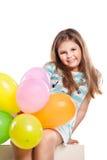 Muchacha feliz con los globos Imagen de archivo libre de regalías