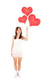 Muchacha feliz con los globos Fotografía de archivo