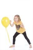 Muchacha feliz con los globos coloridos Imagenes de archivo