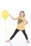 Muchacha feliz con los globos coloridos Imagen de archivo libre de regalías